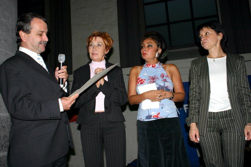 v.l.n.r. Otmar Steinbicker (Vorsitzender des Aachener Friedenspreis e.V.), Ella Poljakowa (Petersburger Soldatenmütter), Eren Keskin, Elena Filanowa (Petersburger Soldatenmütter)