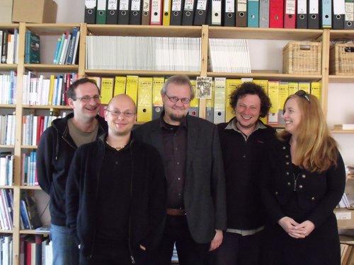 Von links: Jürgen Wagner, Michael Haid, Tobias Pflüger, Christoph Marischka, Claudia Haydt
